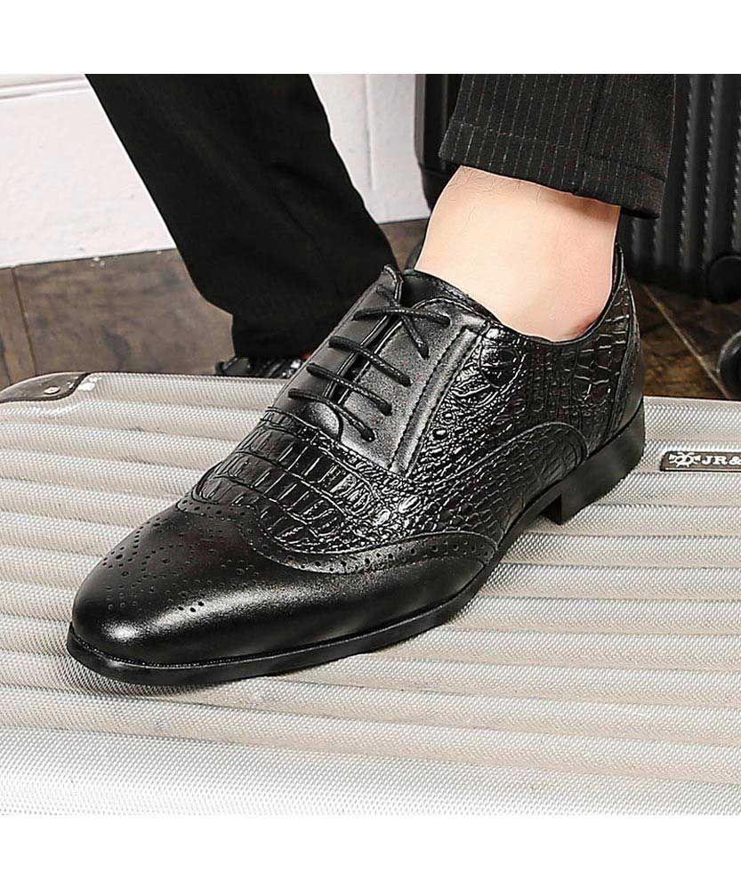 Black Retro Brogue Croc Pattern Oxford Dress Shoe In 2021 Dress Shoes Dress Shoes Men Oxford Dress Shoe [ 1000 x 833 Pixel ]