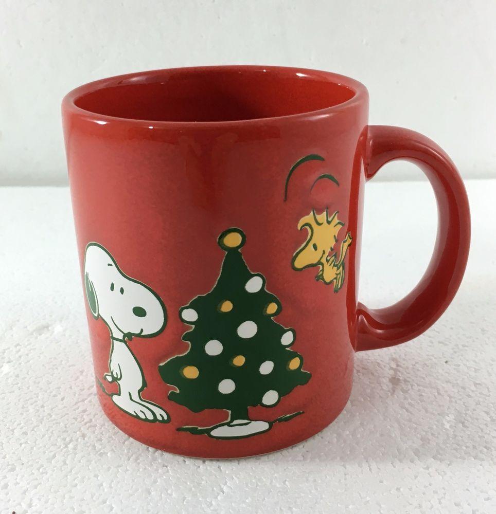 Waechtersbach Peanuts Snoopy Woodstock Christmas Tree Red Mug Cup New Red Mug Peanuts Snoopy Woodstock Mugs