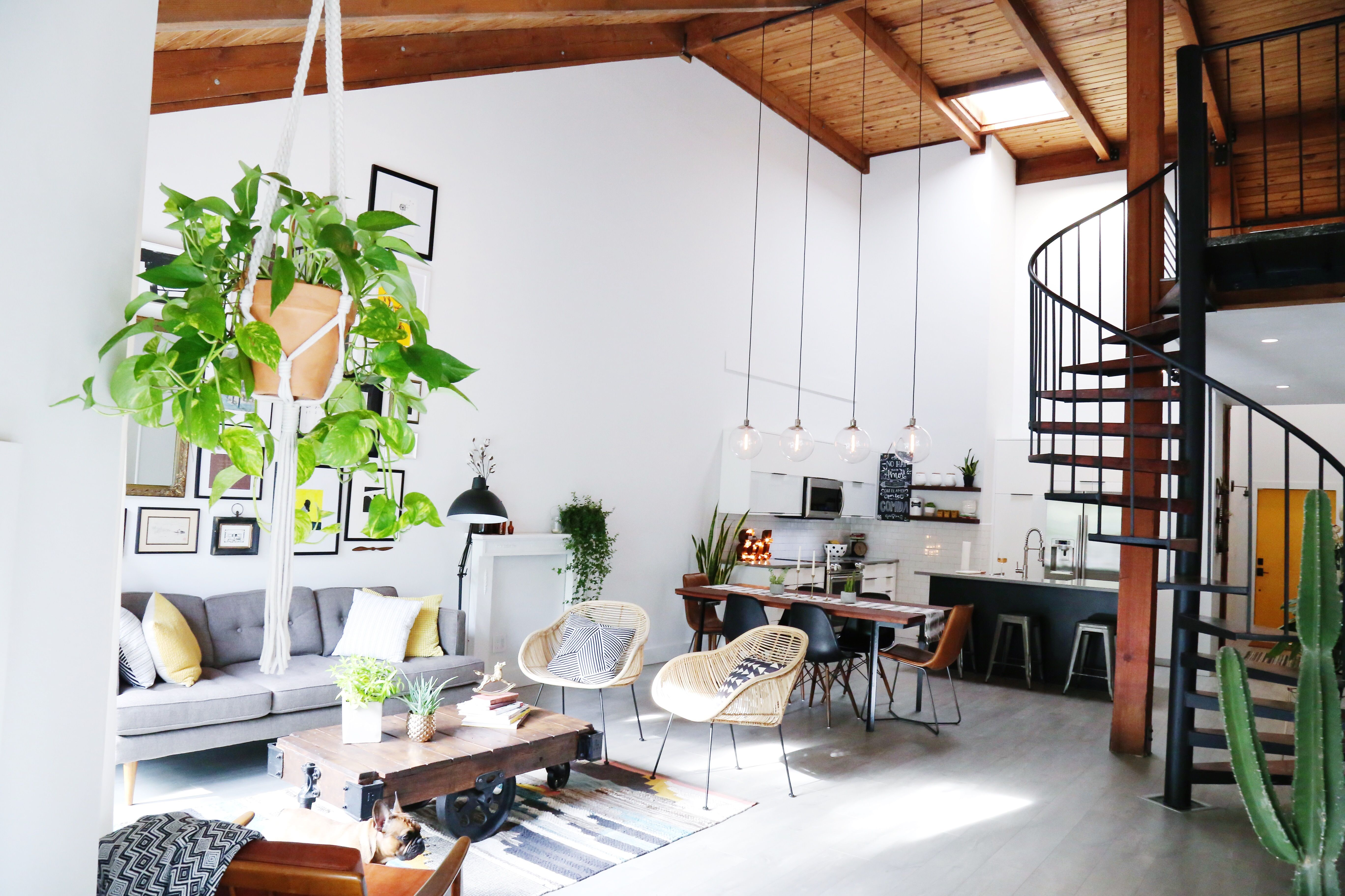 Industrial Mid Century Modern Bright And Airy Livingroom With High Ceilings Metal Spiral Staircase And Plants Florida Home Dream House Gravity Home