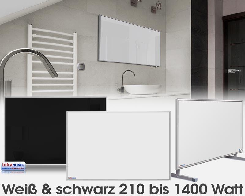 standard infrarotheizungen glas wei oder schwarz emailliert in 10 gr en von 210 bis 1400 watt. Black Bedroom Furniture Sets. Home Design Ideas
