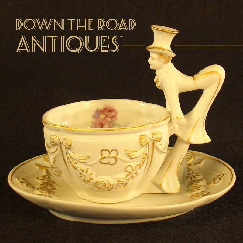 Occupied Japan Tea Cup and Saucer - Figural Victorian Gentleman