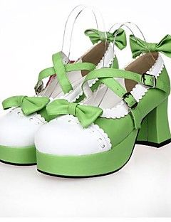 PU Leather 7.5CM High Heel Sweet Lolita Shoes with Row – USD $ 59.99