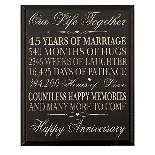 45th Wedding Anniversary Wall Plaque Gifts For Couple 45th