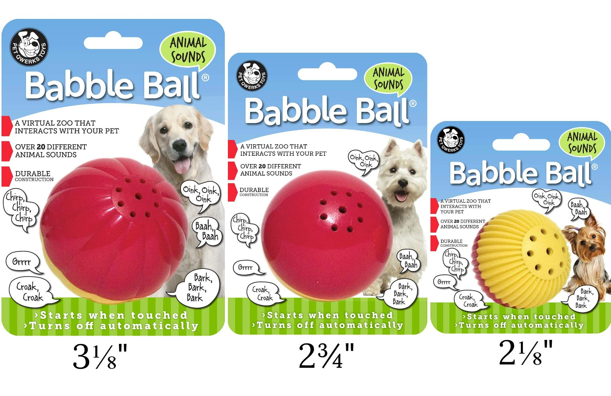 Pet Qwerks Animal Sounds Babble Ball Interactive Dog Toy Makes