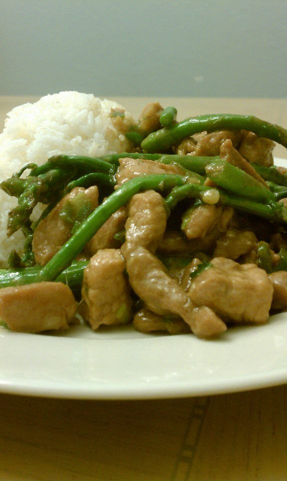 Spicy pork and asparagus with chili and steamed rice kid tested spicy pork and asparagus with chili and steamed rice ccuart Image collections