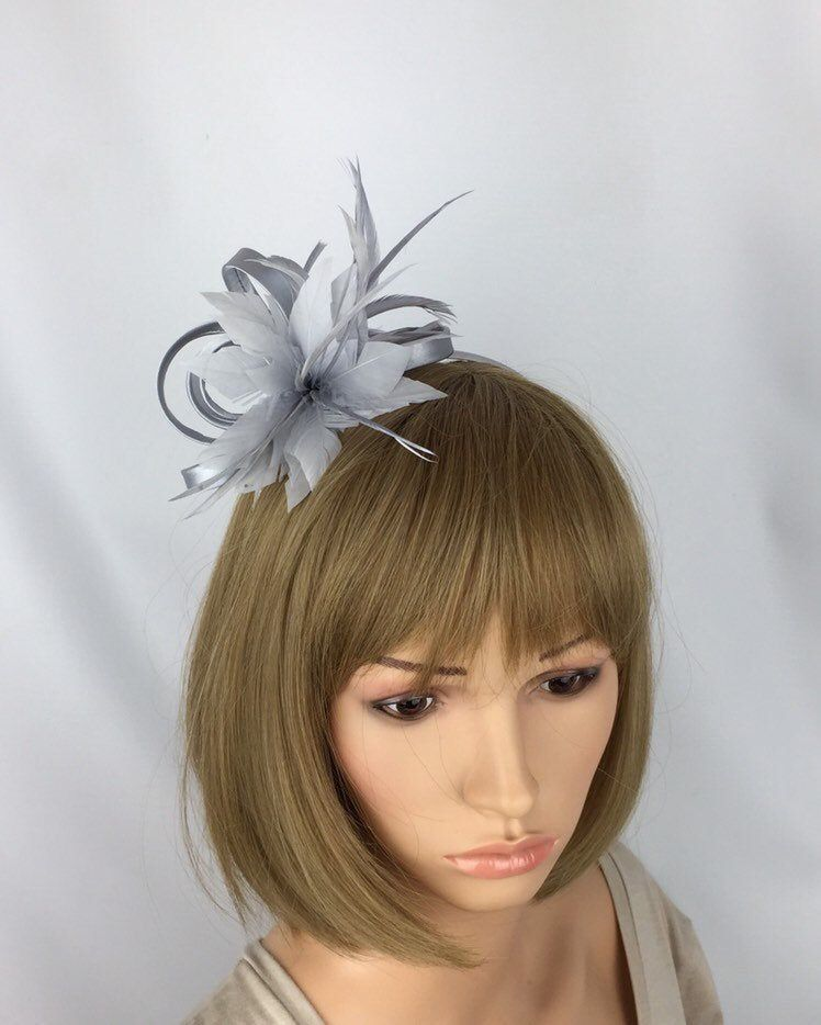 Small Silver Fascinator Pale Grey Fascinator Wedding Mother of the Bride Groom Ascot Epsom Races Occasion #fascinatorstyles