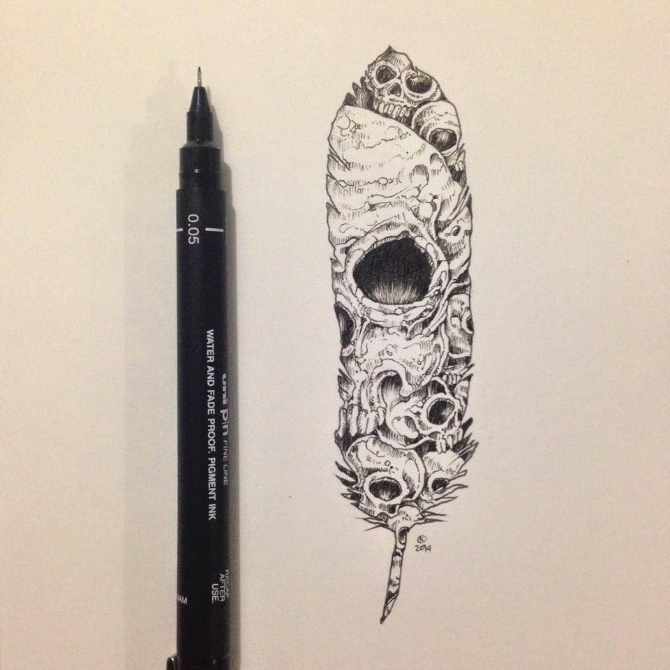 Skull Feather By Kerby Rosanes