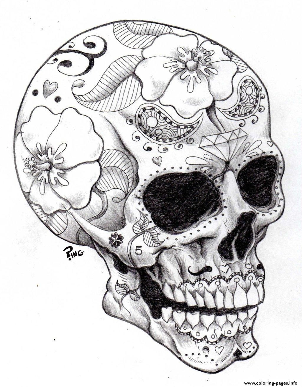 Print Adult Halloween Sugar Skull 2 Coloring Pages Skull