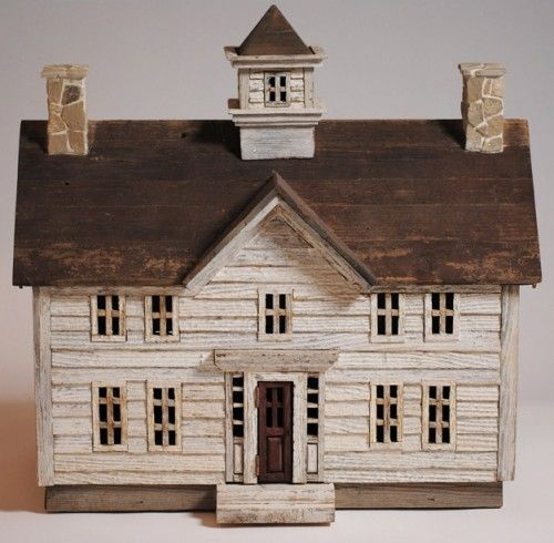 Miniature architectural wood folk art house miniature for Miniature architecture