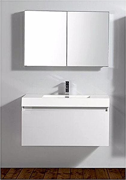 Ensemble De Salle De Bain A 1000 Basic Armoire De Toilette Vasque Et Meuble Sous Vasque Blanc Vanity Bathroom