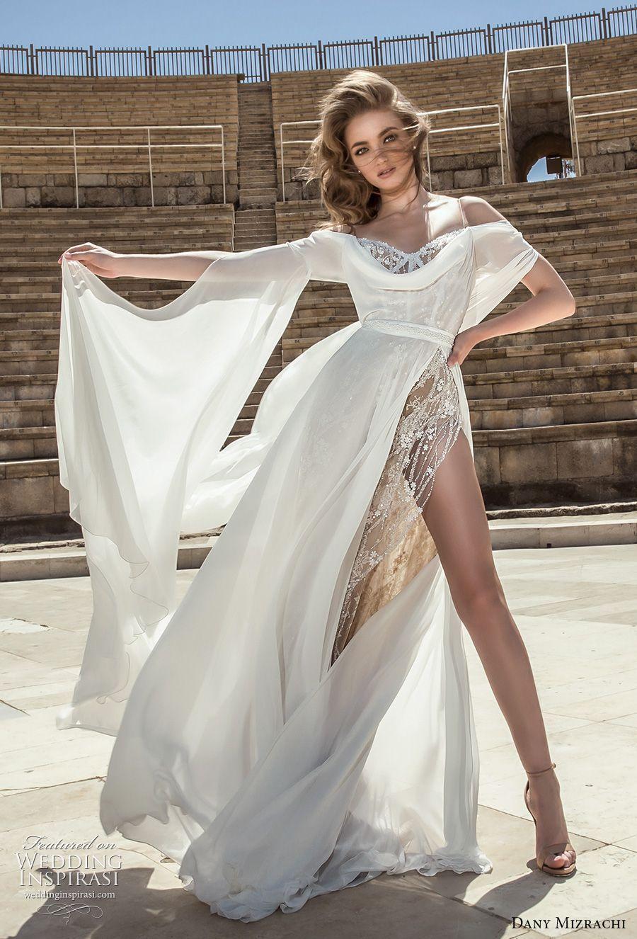 Danny mizrachi bridal long angle sleeves off shoulder