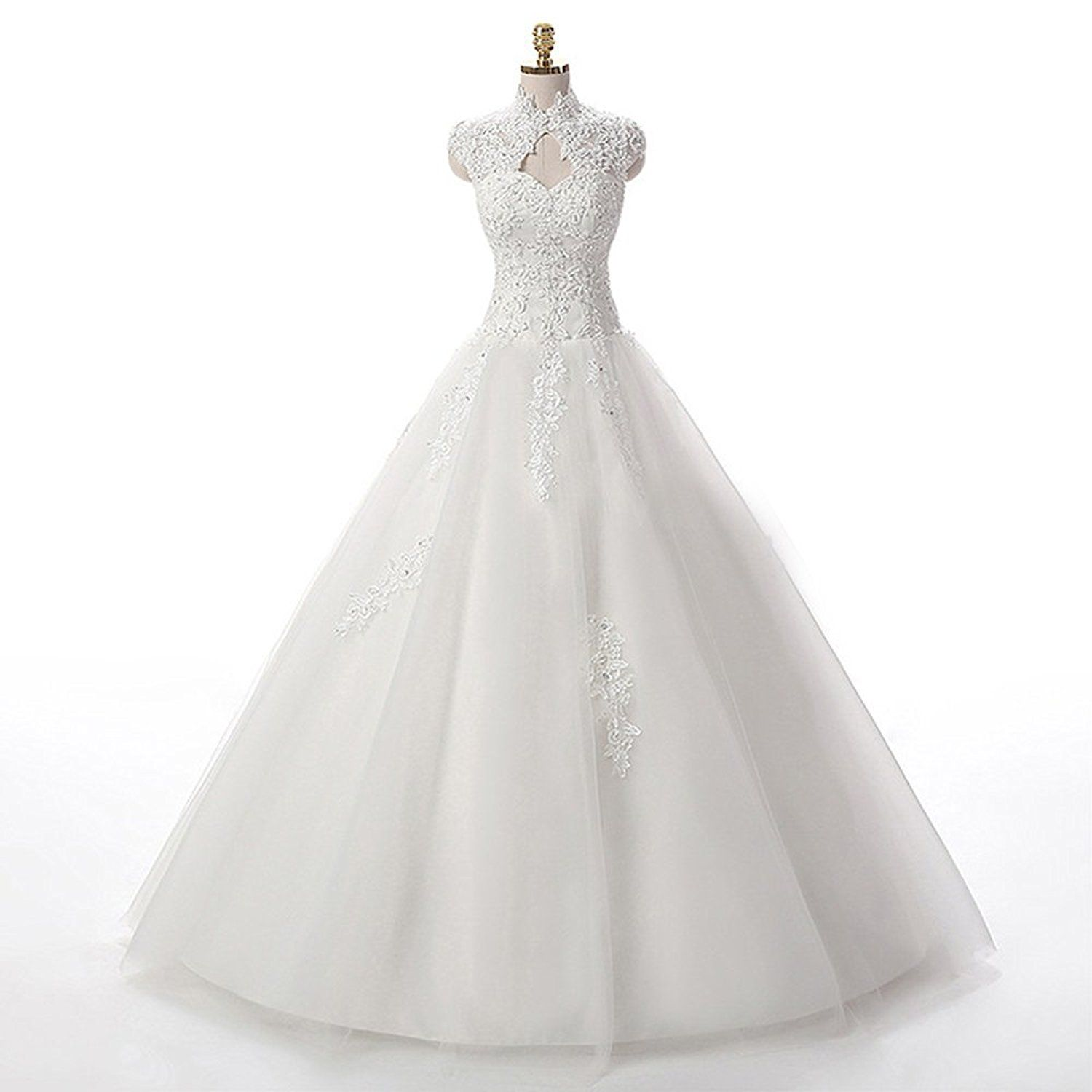 Lace cap sleeve a line wedding dress  Lampang A Line Lace Wedding Dress Tulle Cap Sleeve Long Wedding Gown