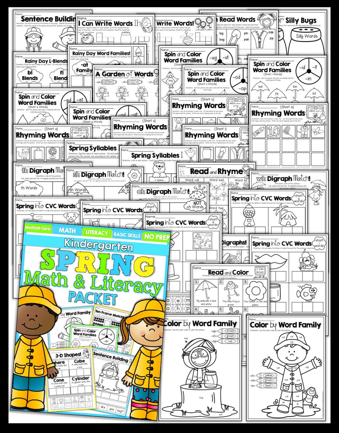 The Moffatt Girls Spring Math And Literacy Packet