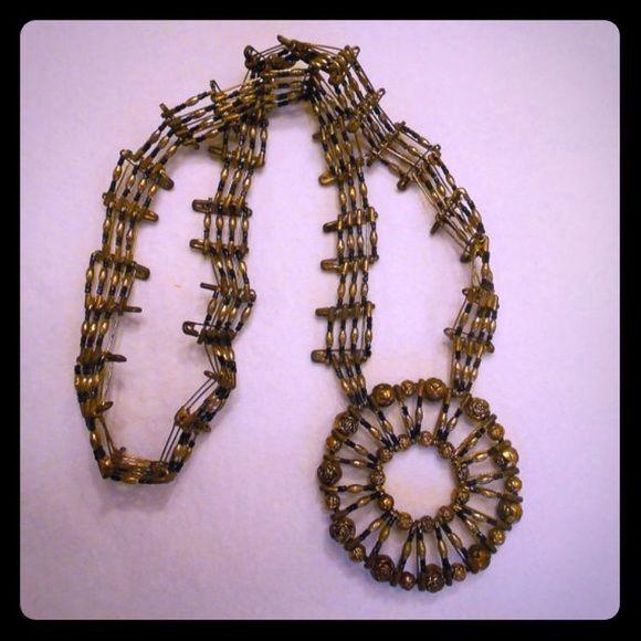 Vintage Unique Handmade Pin Necklace Unique handmade pin necklace with rose beads! Jewelry Necklaces