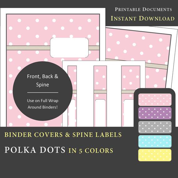 Printable Binder Cover  Spine Labels Polka Dot Design in 5 - printable binder spine labels