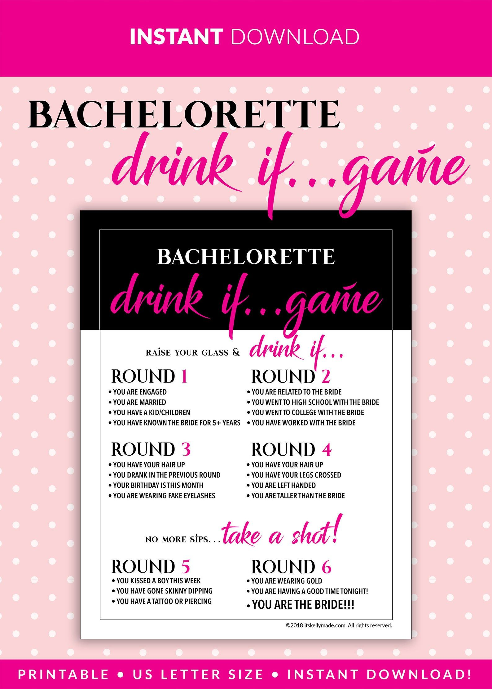 Bachelorette Party Games DRINK IF Game Printable Etsy in