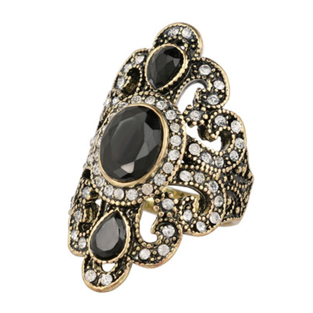 Antique Gold Rings for Women Vintage Fine Jewelry Black Red Resin ...