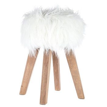 White Faux Fur Wood Stool Guest Bedroom Design Faux