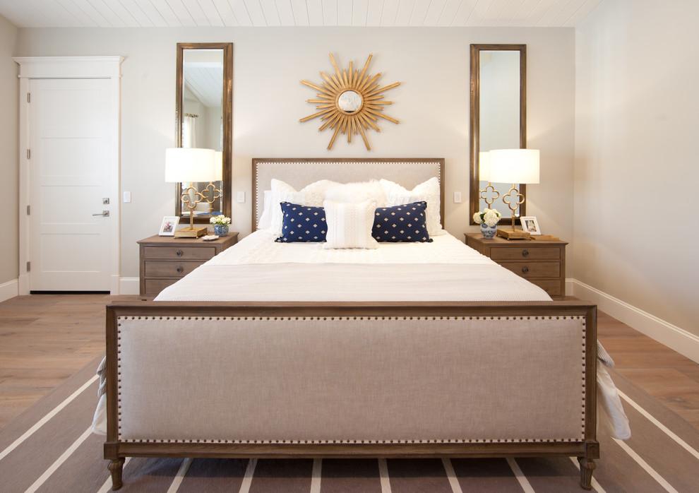 Shiny Sunburst Mirror In A Beige Bedroom Decoist Bedroom Wall