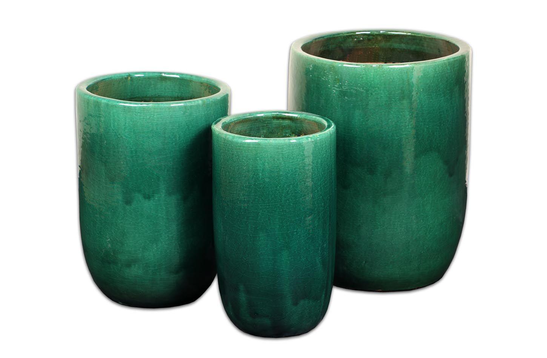 Maceteros de ceramica esmaltada medidas:  A-45 diam x 59 alt-  B-36 diam x 53 alt-  C-28 diam x 47 alt