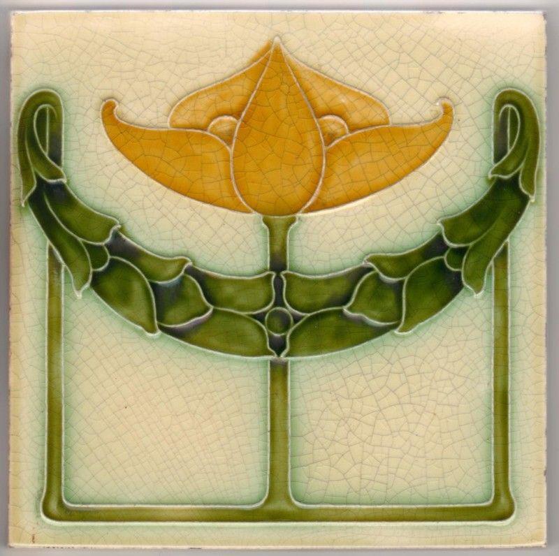 Edwardian Pilkington Moulded Art Nouveau Ceramic Tile Art Nouveau Tiles Art Deco Tiles Art Nouveau