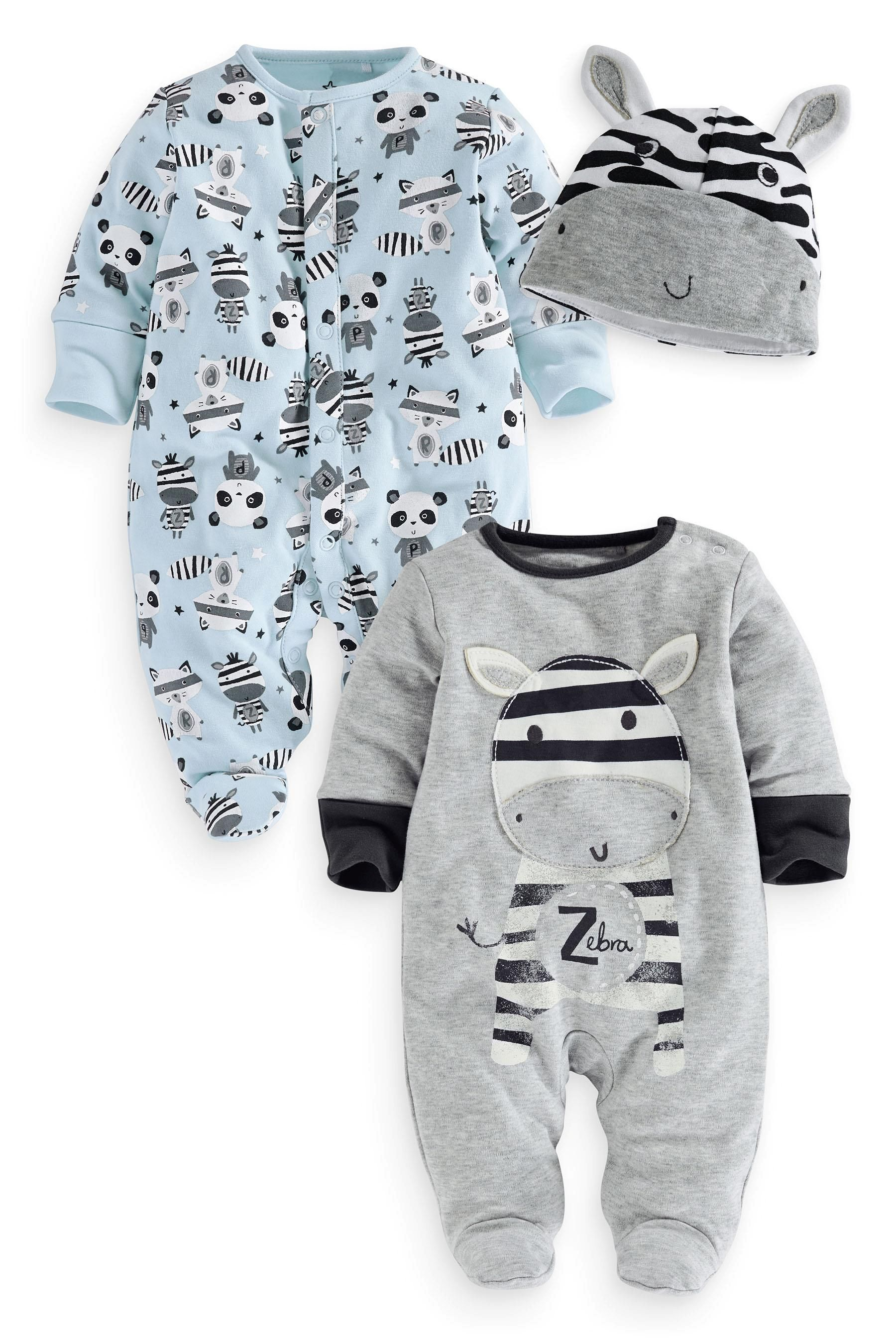 7522cfcb97f Buy Zebra Sleepsuits Two Pack With Hat (0mths-2yrs) from the Next UK online  shop