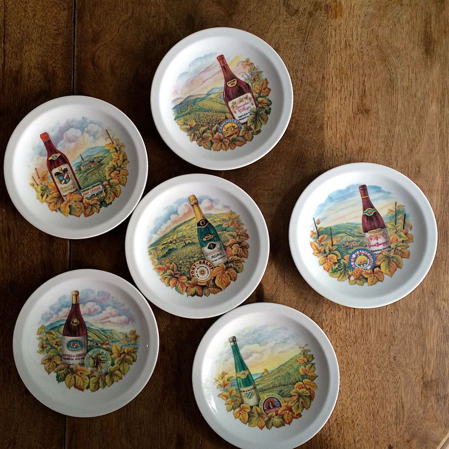 Vintage Set of 6 CHEESE PLATES Ceramic Majolica PORCELAIN with Wine and cheese Camembert Bordeaux Bourgogne & Vintage Set 6 CHEESE PLATES Ceramic Majolica Porcelain Wine cheese ...
