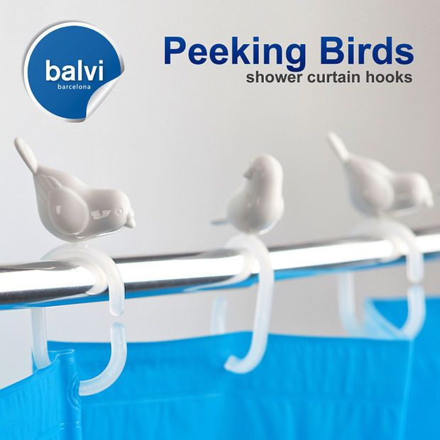 Curtains Ideas bird shower curtain hooks : Balvi | Peeking Birds Shower Curtain Hooks | Things I Want ...