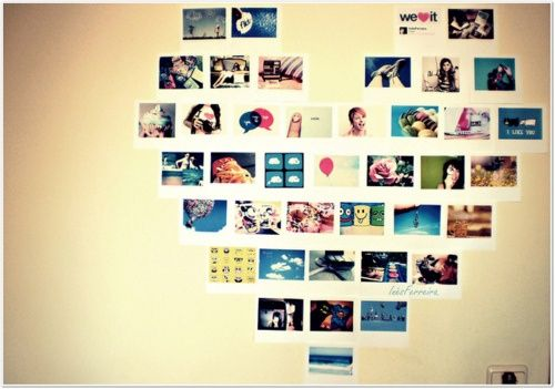 DIY heart photo collage!! I want to do this on the wall above my bed ...