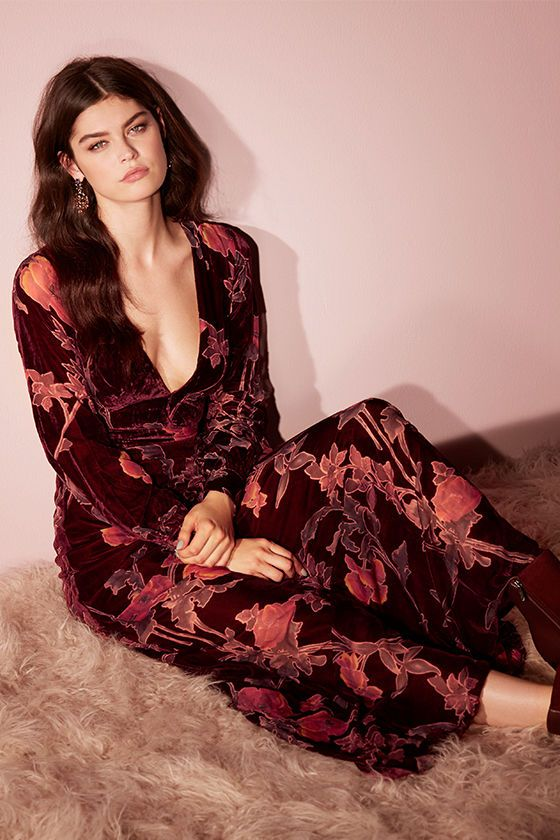 6894b2a19f23 The Practical Magic Burgundy Velvet Floral Print Maxi Dress will have your  admirers instantly enchanted!