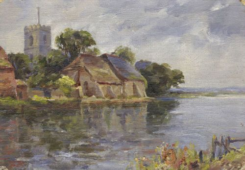River view with #church and barns - original #early #20th-century oil painting,  View more on the LINK: http://www.zeppy.io/product/gb/2/281941439546/