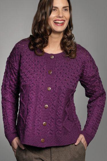 Carraig Donn Irish Aran Wool Sweater Womens Cable Knit Diamond ...