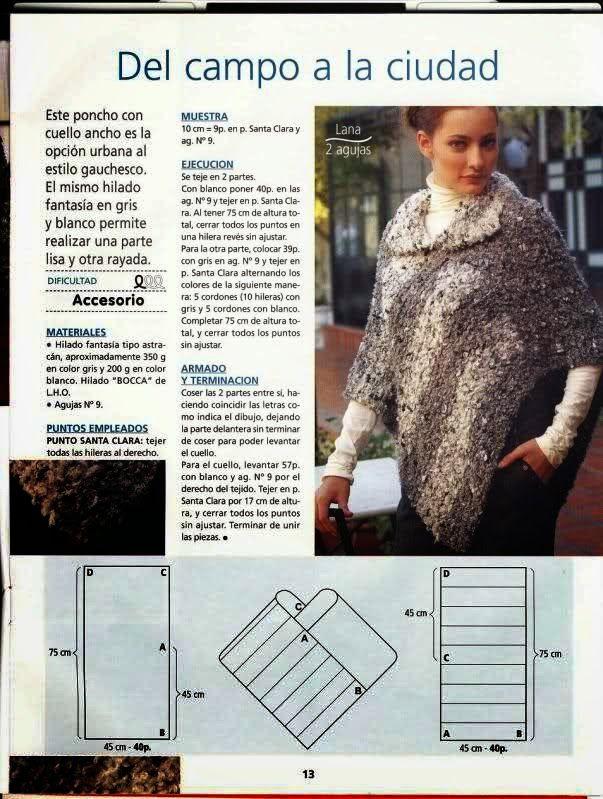 Cómo tejer ponchos a dos agujas, 4 patrones | Patrones | Pinterest ...