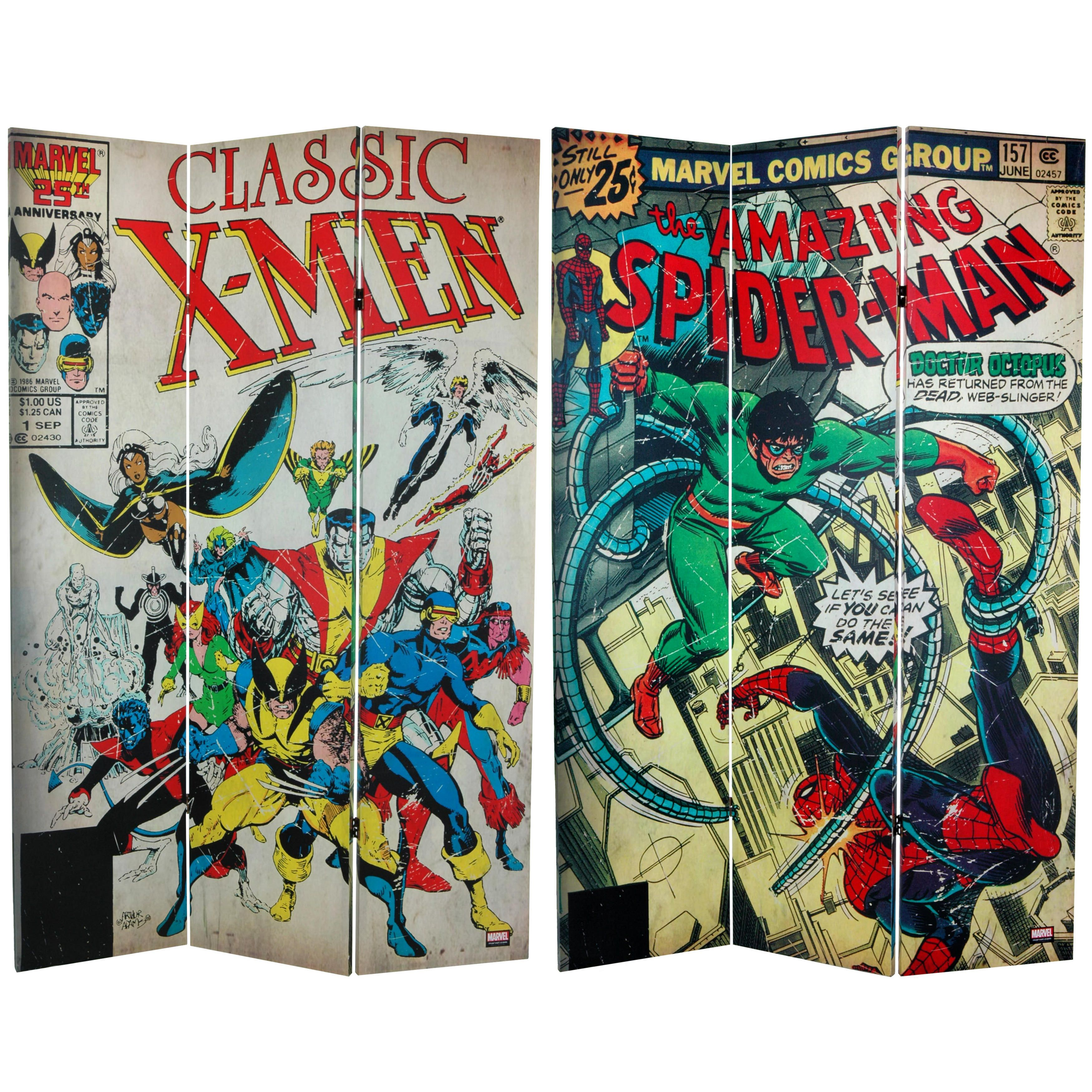 6-foot Tall Double Sided Spider-Man/ X-Men Canvas Room Divider | Overstock.com Shopping - The Best Deals on Decorative Screens