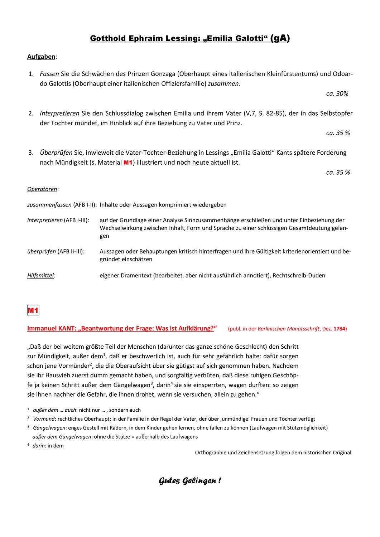 Deutsch Zentralabitur 2019 Vater Und Tochter Ga Klausur Horizont Zu Lessings Deutsche Schule Vater Abitur