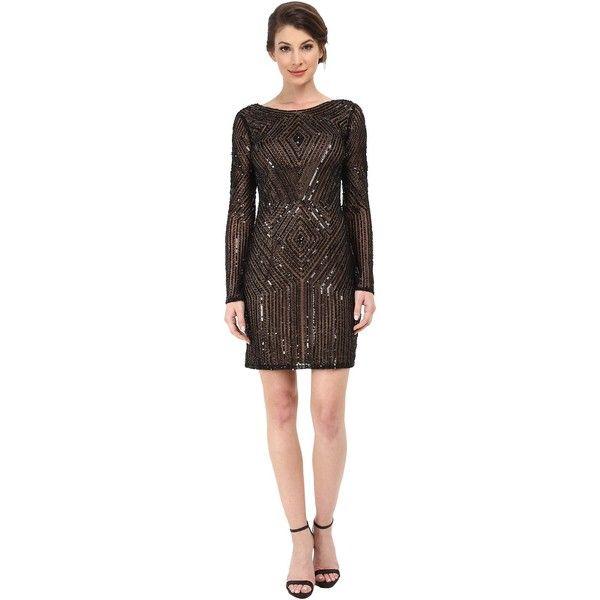 f6e8be7aeb Adrianna Papell Diamond Pattern Long Sleeve Beaded Cocktail Dress... ( 260)  ❤