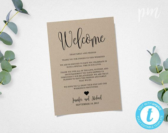 Wedding Welcome Letter Rustic Welcome Bag Note Welcome Bag Letter