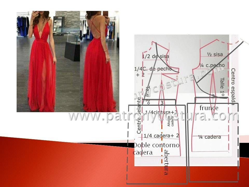 Vestido escote en V y espalda libre.Tema 194 | Dress pattern ...
