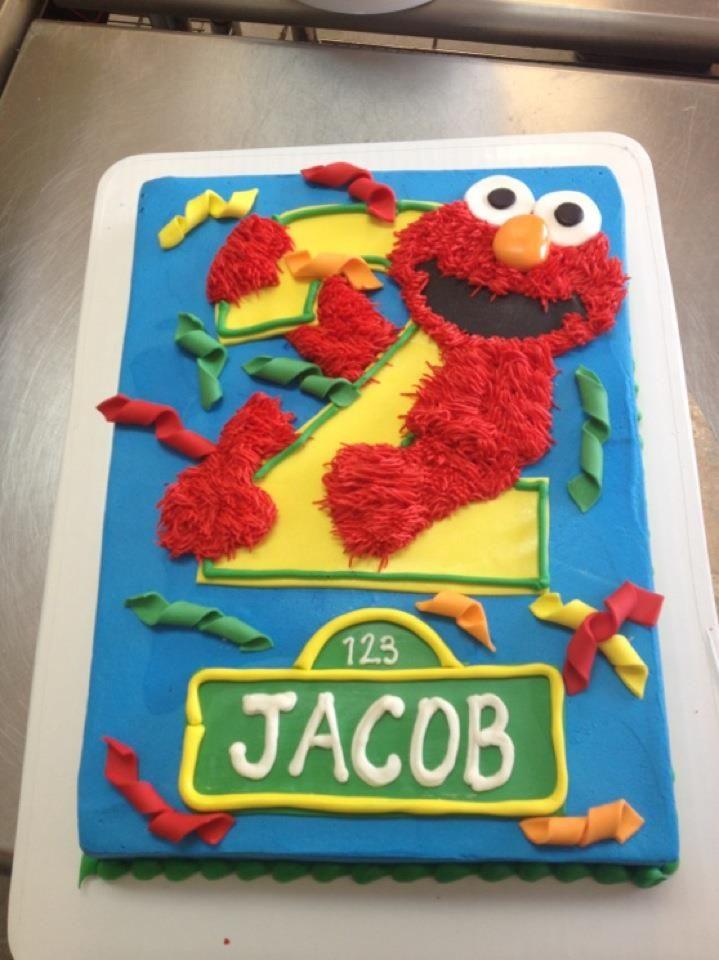 Swell Elmo 2Nd Birthday Cake Designed By Sam Lucero Blue Cake Little Funny Birthday Cards Online Benoljebrpdamsfinfo