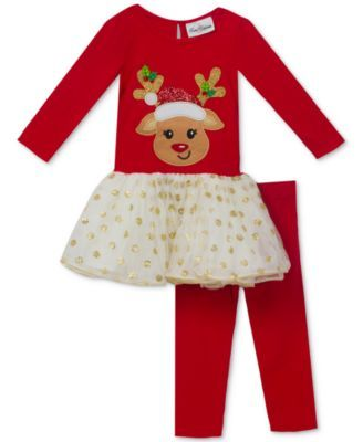1b64dba0f Rare Editions 2-Pc. Reindeer Tutu Tunic and Leggings Set, Baby Girls (0-24  months)
