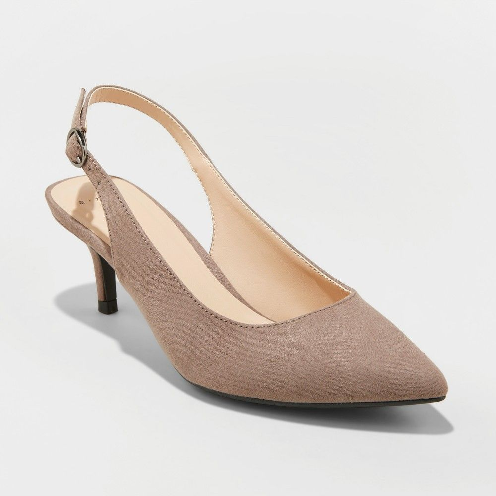 3777094774cb Women s Naoma Kitten Sling Back Heeled Pumps - A New Day Taupe (Brown) 7.5