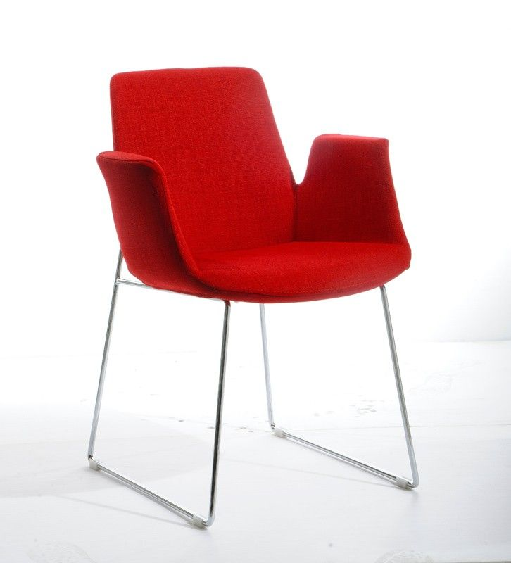 Modrest Altair Mid Century Red Fabric Dining Chair Fabric Dining
