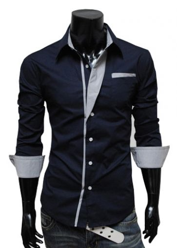 Formal Long Sleeve Single Breasted Cotton Navy Shirts on sale only US$11.00 now, buy cheap Formal Long Sleeve Single Breasted Cotton Navy Shirts at martofchina.com