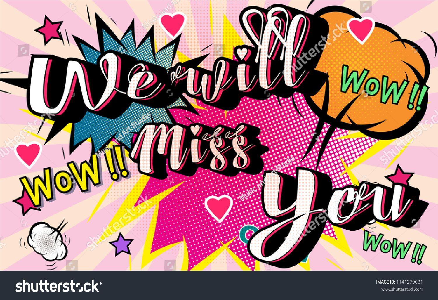 Farewell Party Template We Will Miss You Text Design Pop Art Comic Style Colorful Background For T Shirt Print Banne Banner Template Flyer Template Templates
