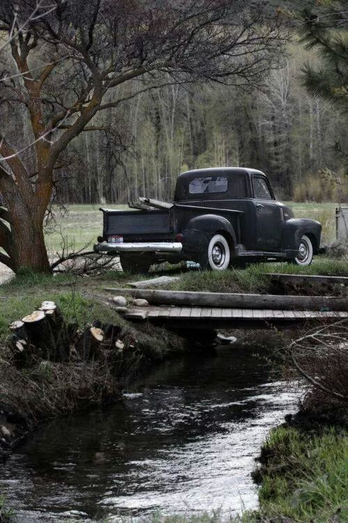 old truck by the stream