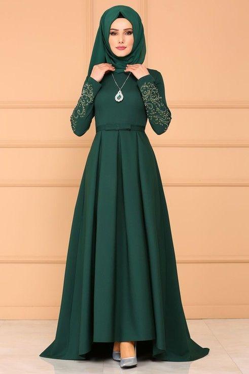 Modaselvim Abiye Pileli Peplum Abiye 8846w153 Zumrut Smbs Sarioglu Pint Pic Muslim Fashion Dress Muslimah Dress Muslim Women Fashion
