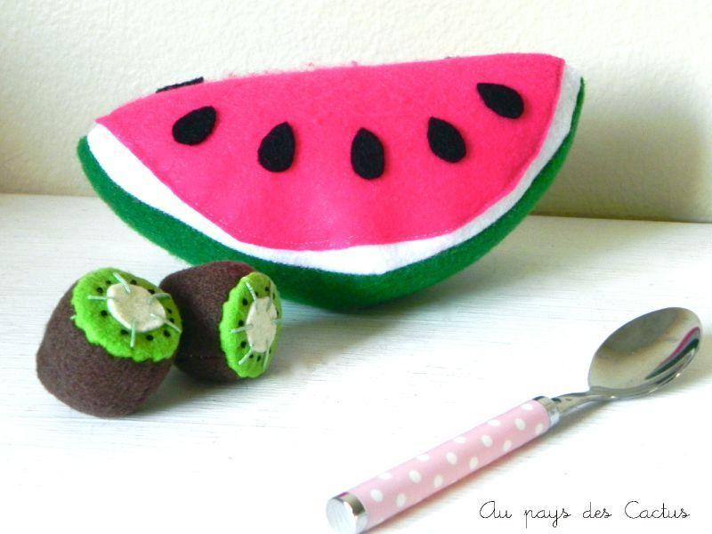 Pastèque et kiwis dînette feutrine / watermelon and kiwi fruit felt food Au pays des Cactus
