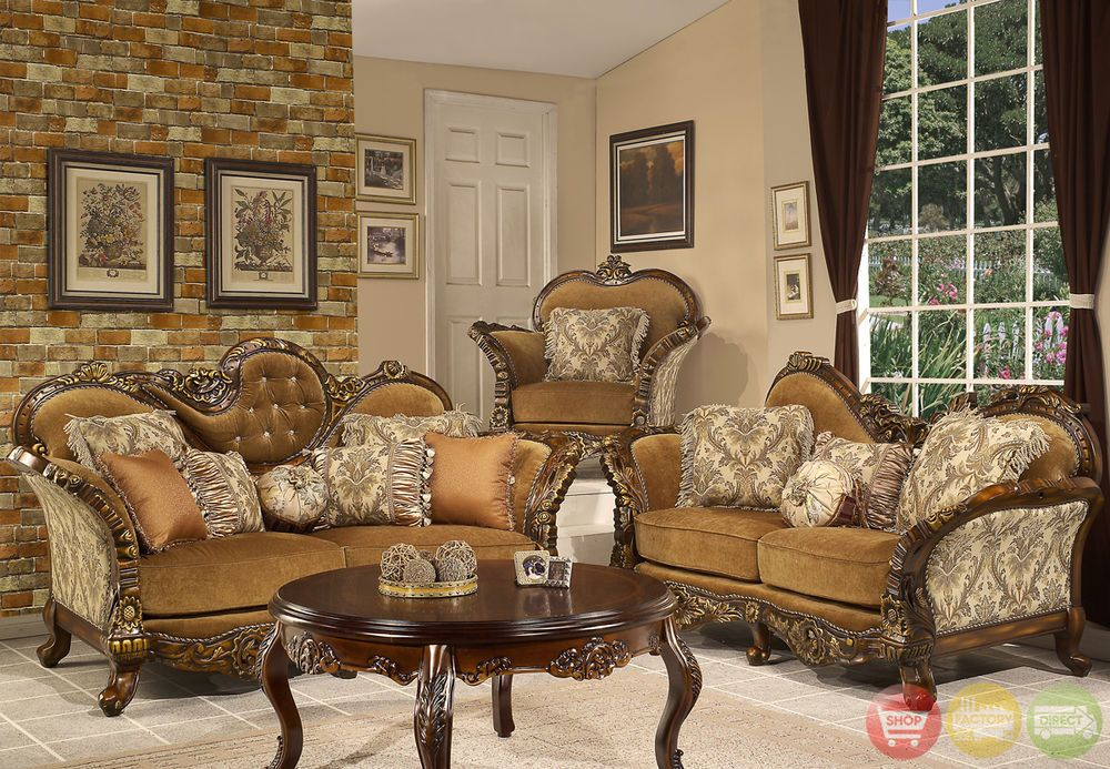 Formal Sofa & LoveSeat Living Room Set Antique Style Traditional ...