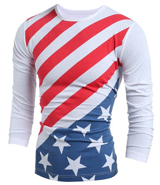 Vogue Slimming Round Neck American Flag Print Color Block Long Sleeves T- Shirt For Men