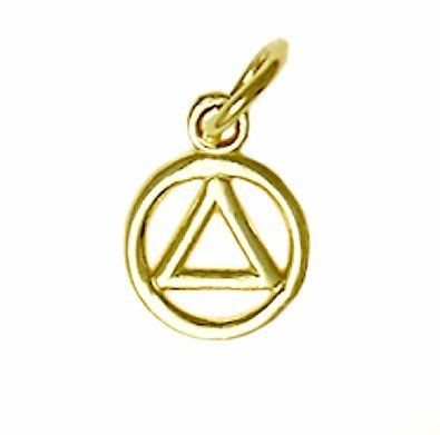 14k Gold Alcoholics Anonymous Aa Symbol Small Wire Look Pendant 12